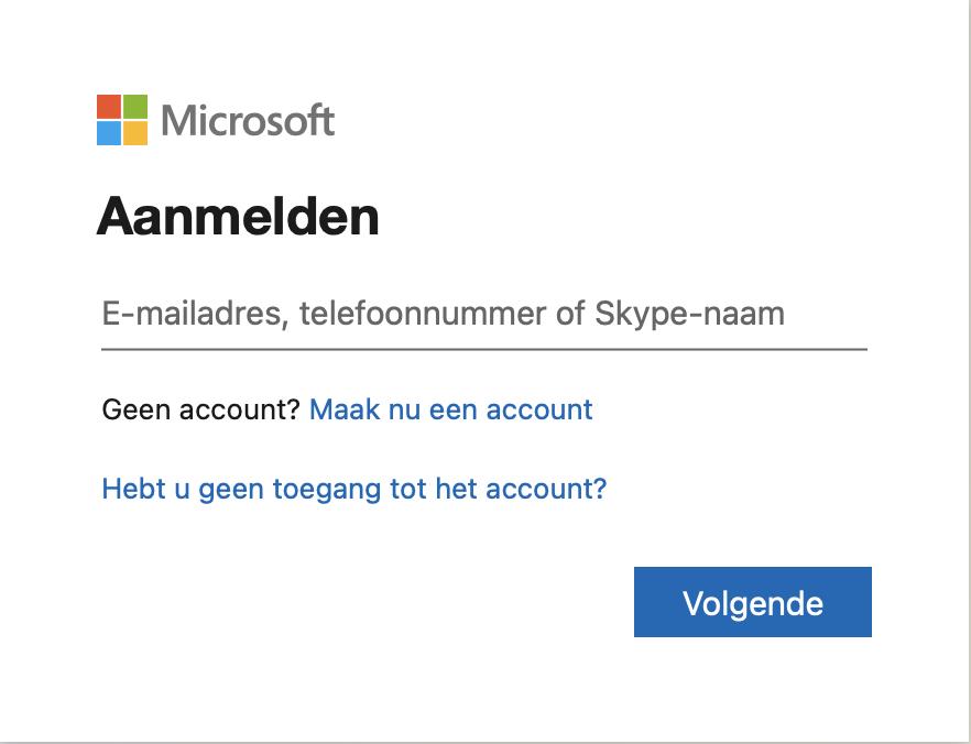 Aanmeld venster voor Office 365 en andere diensten, zoals Azure.